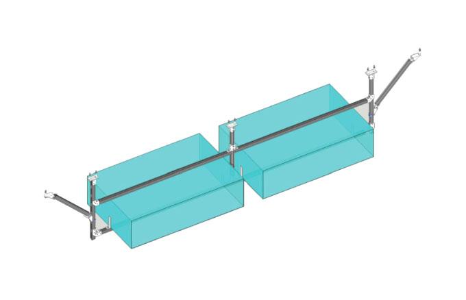 双吊式门型单向双排风管支架